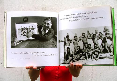 Dino Peresson e una foto scattata da Pasolini sul Tagliamento ai compagni di Santa Sàbida nel 1947